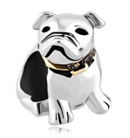 big bulldog - Personalized jewelry Dog Beagle Pet Germany Bulldog European bead metal charm ladies bracelet with big hole Pandora Chamilia Compatible