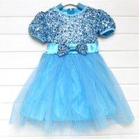 sundresses - frozen princess girls dress Elsa girl sundress Sequins Paillette children party dress kids prom holiday dress Via DHL