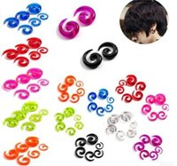 Wholesale 18pcs Body Jewelry Punk Ear Spiral Expander Taper Swirl Plug Stretcher piercing Acrylic Spiral Black White