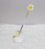 Wholesale Delicate Handmade Seastar Seashell Pearl Plumeria Flower Pen Set Beach Wedding Sea Element Pen Set Wedding Favors Wedding Party Ornaments