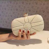 bag imitation - Hot Style Fashion Pearls Women s Handbag Full Pearl Bridal Satin Party Clutch Woman Bags For Evening Wedding