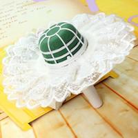 Wholesale Vogue Flower Floral Bouquet Foam Handle Holder With Lace Collar Wedding Decor Home DIY