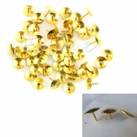 Wholesale 50 Metal Gold Coloured Drawing Push Pins Stationery Cork Board Pins