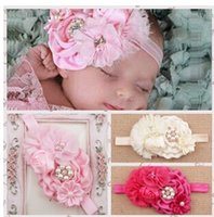 Wholesale Infant Flower Headbands Girl Headwear Kids Baby Photography Props NewBorn Bow Hair Accessories Baby Rhinestone Hair bands A11CC5