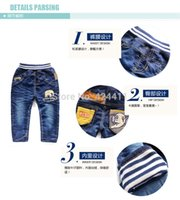 Cheap Wholesale-New 2015 Winter Baby Clothing Toddler Boy Jeans Thickening Fleece Cartoon Elephant Wear White Letters Casual Warm Pants 73-90cm