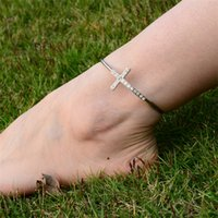 ankle cuff sandals - Vintage Fashion Ankle Bracelets Sparkling Crystal Cross Cuff Foot Bangle Beach Barefoot Sandals Women Lady Fashion Fine Body Jewelry DCBJ775