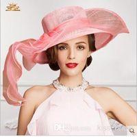 Cheap 2015 Charming Ladies Church Hats Organza Wedding Hat Bow Handmade Flowers Women Hats Wide Brim Hats Wedding Party Accessories