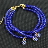 Wholesale Silver Chain Turkey - National Wind evil eyes Crystal Beads Bracelets Turkey Blue Eyes Multilayer Charm Bracelet Fashion Lucky bracelet for women Jewelry 6 color