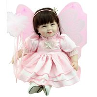 bebe wigs - 55cm Pink Butterfly Princess Reborn Dolls Girls Wig Wand Bonecas Bebe Reborn de Silicone Kids Toys Doll Brinquedos Adora Dolls