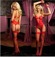 handcuffs - 1pcs Sexy Lingerie Women Red Lace Dress G string Handcuff Garter Belt Stockings