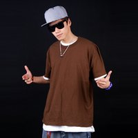 basic house fashion - new fashion street boy solid color plus size hiphop bboy blank all match short sleeve underwear house multi color basic clothing