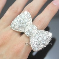 big bling rings - Silver Big Bowtie Bowknot Bow Tie Knot Crystal Pave Chunky Bling Ring Cocktail Jewelry