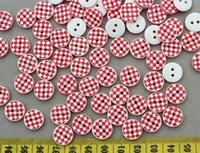 aqua mosaics - 600 Resin red mosaic print Candy Buttons holes mm resin gingham kitsch buttons