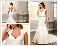 beautiful structures - 2016 Beautiful cap sleeve lace mermaid dress features a structured collar neckline and open back JB26211 Wedding Dress