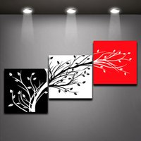 oil painting - Three color Trees Oil Painting Home Decor Red Black White Canvas Painting Panels Set