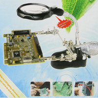 Wholesale Welding Repair Magnifier LED Illuminated Iron Desktop With LED Auxiliary Clip Stand