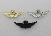 advance study - American metal badge ARMY US aviation advanced flight chapter gold silver Black