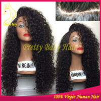 Natural Color cheap full lace wigs - Silk Base Lace Wigs Virgin Brazilian Human Hair Wig Full Lace or Lace Front Kinky Curly Cheap Long with Bleached Knots Baby Hair