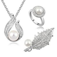 Earrings & Necklace austrian crystal brooch - Austrian crystal jewelry full diamond luxury fashion pearl silver plated leaf shaped brooch necklace ring jewelry set z124