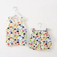 Cheap Unisex children clothing set Best Summer Sleeveless cartoon children clothes