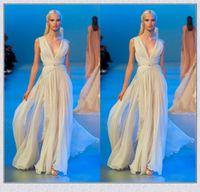 Cheap 2016 New hot sale Custom Deep V Neck Grecian Goddess Style Elie Saab Dresses Long Formal Evening Gown 2015 Elegant Prom Party Dress