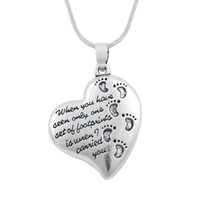 alphabet chain necklace - rhodium plated a fashion heart pendant letter alphabet and baby footprint dangle neckalce