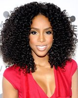 Wholesale glueless heat resistant loose curl natural short afro curl natural black B synthetic lace front wig