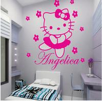 al por mayor arte de la pared nombre-HELLO KITTY con flores de hadas personalizado nombre de la pared de dibujos animados etiqueta de vinilo decorativo de vinilo de pintura mural de princesa chica sala de decoración