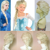 Wholesale Hot Princess Frozen Snow Queen Elsa Weaving Braid Light Blonde Cosplay Wig Children Adult Snow Queen Gold Long wigs Gift set