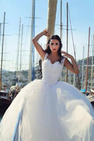 Wholesale 2015 Two in one Wedding Dresses Sheath Sheer Cap Sleeves with Detachable Puffy Skirts with Veil vestidos de novia