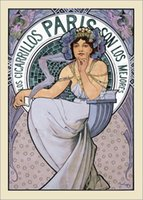 alphonse mucha canvas - Portrait Painting Alphonse Mucha art for sale Los Cigarrillos Paris Maquette brunette Canvas Hand painted High quality