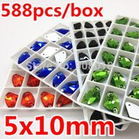 Wholesale 588pcs box Galactic x10mm Foiled Sew on Stone Flatback Holes x5mm AX Sewing Glass Crystal Beads More Colors