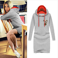 Wholesale 2015 New Fashion autumn winter women dress Casual Hooded Cotton Appliques Loose Plus size Knee Length Sport Dress S XL