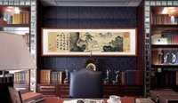 banner office - Tang Bohu figure painting landscape painting Ming antique painting decorative painting calligraphy banner office room