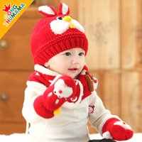 Wholesale 2015 New Hot Sale Cute Baby Winter Knitted Scarf hat golves Warm Cap months Boy Lovely Beanie Children Hats Scarf Set