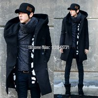 Wholesale Fall Fashion Mens Trench Coat Winter Warm Long Jacket Hoodies Hooded Double Breasted Overcoat Tops Colors Size MN4180101