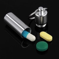 Wholesale 1pcs Keychain Pill Box WaterProof Silvery Aluminum Drug Case Bottle Holder Container low price