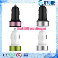 Chargeur USB de haute qualité Dual USB chargeur de voiture pour iphone 5 4 4S 6 Smart Phone PDA lecteur MP3 MP4 GPS, Multi couleurs, DHL libre, usine directe, wu