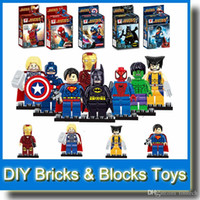Wholesale Super Heroes The Avengers Iron Man Hulk Batman Wolverine Thor Building Blocks Sets Minifigure DIY Bricks Toys without Package Box