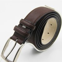 best leather pants - Men Brown Leather Straps Male Cheap Casual Pants Accessories Best cm Silver Needle Buckle Belt Hot Sale ZP