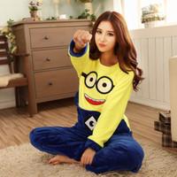 Wholesale winter pajamas adult minion sleepwear animal pajamas one piece Yellow people cartoon women nightwear home clothing
