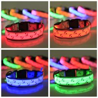 anchor dog collar - Pet Nylon led Collars LED Flashing Dog Collar Anchors LED Collar Night Safety Collar colors Flashing Light Dog Cat Collar Pet Supplies