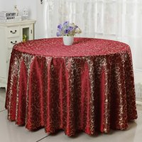 big dining tables - Polyester Jacquard Tablecloth Hotel Dining Round Table Cloth Luxury Wedding Table Cover Big Size Solid Color Table Linen