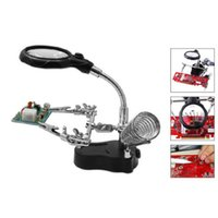 Wholesale Multi function electric machine soldering iron holder table magnifying glass HW020 order lt no tracking