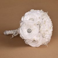 beading supply - Luxury Wedding Bouquets Rhinestone Fully Beading Pearls Bridal Bouquets Supplies Hand Made Flowers Wedding Party Bouquets