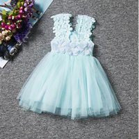 aqua dresses brand - lace Baby dress Princess Aqua Party dress Lace baby girls tutu dress Lace tulle baby clothes