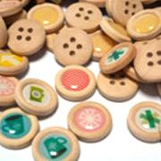 decorative buttons - Colorful Printed Wood Buttons XHWB021 Four Holes Round Craft Scrapbooking Cardmaking Paper Crafting Decorative Wood Embellishments