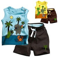 Wholesale 2PCS Children s Sets Boy s Sleeveless Tops Pants Set Outfits Coconut Tree Clothes Y
