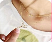 angel stones - Stylish Silver Gold Tone Rhinestone Angel Wings Pendant Double Layer Necklace natural crystal stone N0066
