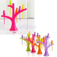 bamboo party fork - First Party Home Decor Bird Fruit Snack Dessert Forks Tool Tree Shape Rack